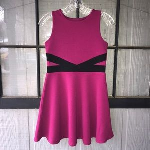 Children's Place pullover dress, magenta and black